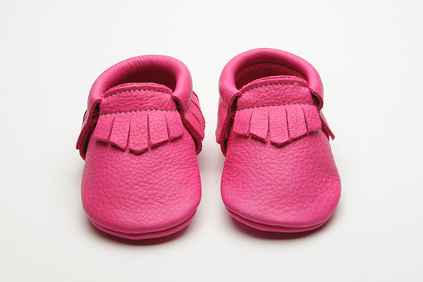 Magenta Moccs - Eco-Friendly Soft Leather Moccasins Baby Shoes by Wolfie and Willow