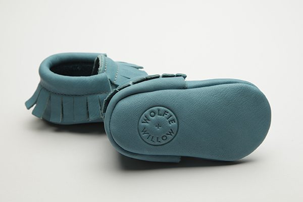 Sky Moccs - Eco-Friendly Soft Leather Moccasins Baby Shoes by Wolfie and Willow