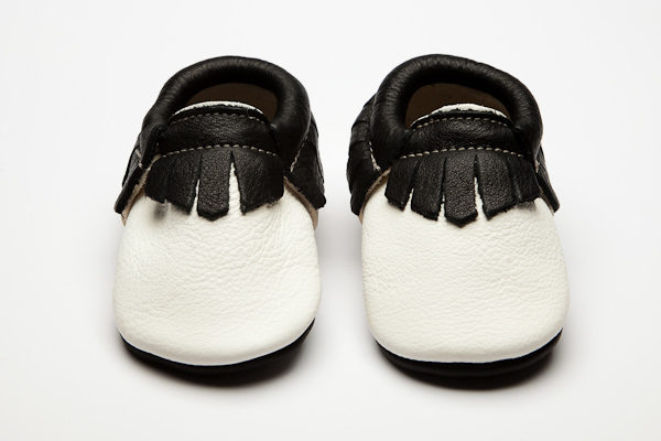 Mohawk Pearl Moccs - Eco-Friendly Soft Leather Moccasins Baby Shoes by Wolfie and Willow