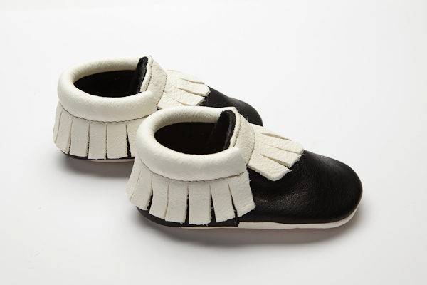 Mohawk Raven Moccs - Eco-Friendly Soft Leather Moccasins Baby Shoes by Wolfie and Willow