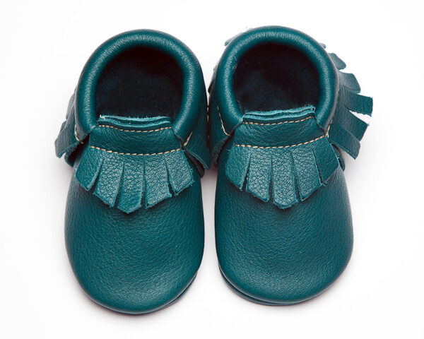 Peacock Moccs - Eco-Friendly Soft Leather Moccasins Baby Shoes by Wolfie and Willow