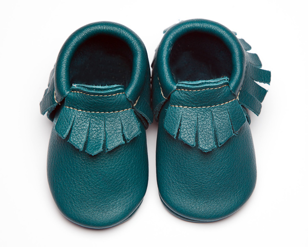Peacock Moccs – Eco-Friendly Soft Leather Moccasins Baby Shoes by Wolfie and Willow