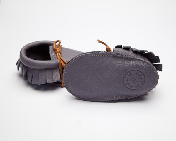 Sahara Flint Moccs - Eco-Friendly Soft Leather Moccasins Baby Shoes by Wolfie and Willow (2)
