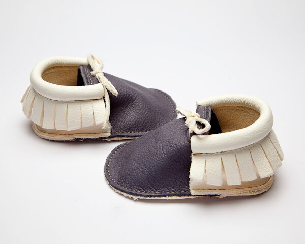 Sahara Flint Pearl Moccs - Eco-Friendly Soft Leather Moccasins Baby Shoes by Wolfie and Willow