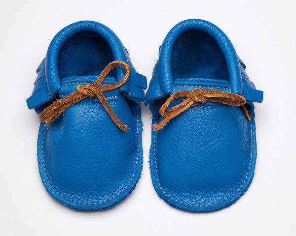 Sahara Indigo Moccs - Eco-Friendly Soft Leather Moccasins Baby Shoes by Wolfie and Willow