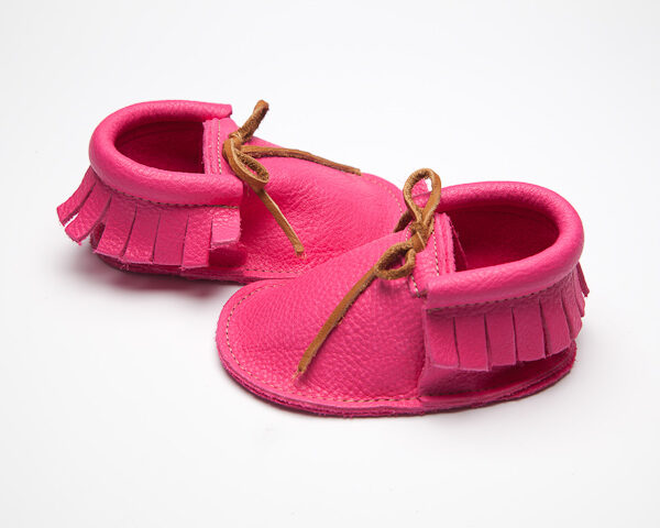 Sahara Magenta Moccs - Eco-Friendly Soft Leather Moccasins Baby Shoes by Wolfie and Willow