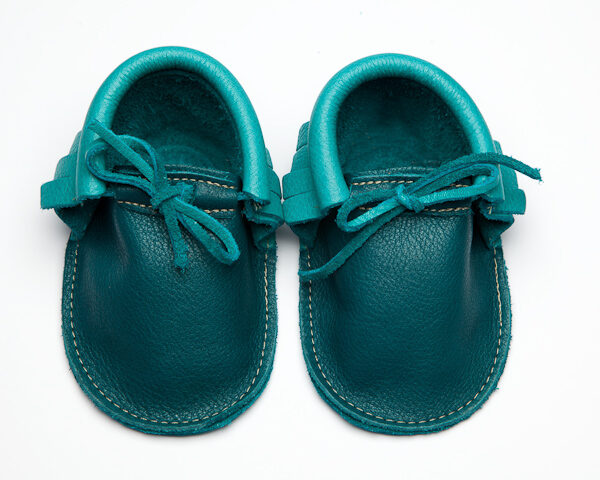 Sahara Peacock Cyan Moccs - Eco-Friendly Soft Leather Moccasins Baby Shoes by Wolfie and Willow (4)