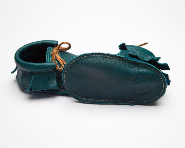 Sahara Peacock Moccs - Eco-Friendly Soft Leather Moccasins Baby Shoes by Wolfie and Willow (4)