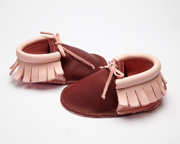 Sahara Plum Blossom Moccs - Eco-Friendly Soft Leather Moccasins Baby Shoes by Wolfie and Willow