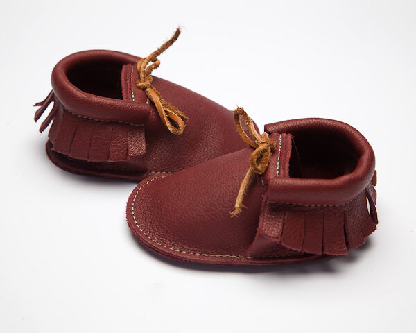 Sahara Plum Moccs - Eco-Friendly Soft Leather Moccasins Baby Shoes by Wolfie and Willow