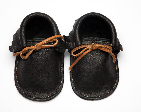 Sahara Raven Moccs - Eco-Friendly Soft Leather Moccasins Baby Shoes by Wolfie and Willow (4)