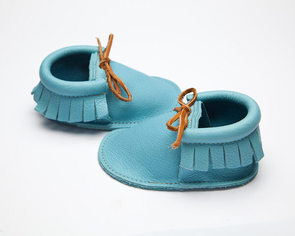Sahara Sky Moccs - Eco-Friendly Soft Leather Moccasins Baby Shoes by Wolfie and Willow