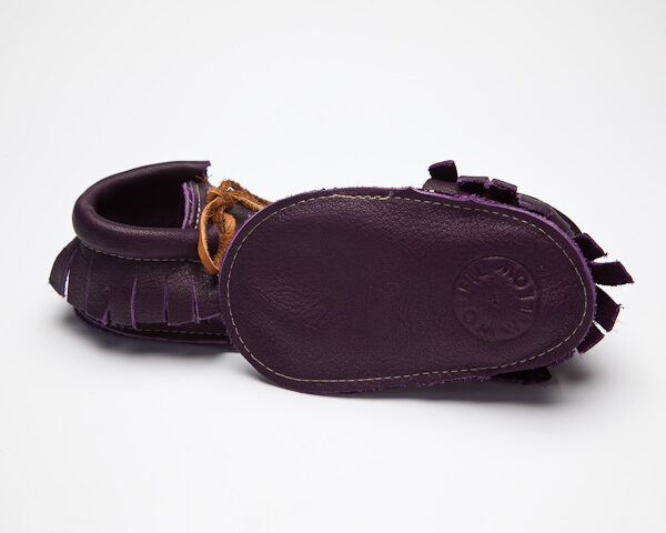 Sahara Violet Moccs - Eco-Friendly Soft Leather Moccasins Baby Shoes by Wolfie and Willow (2)