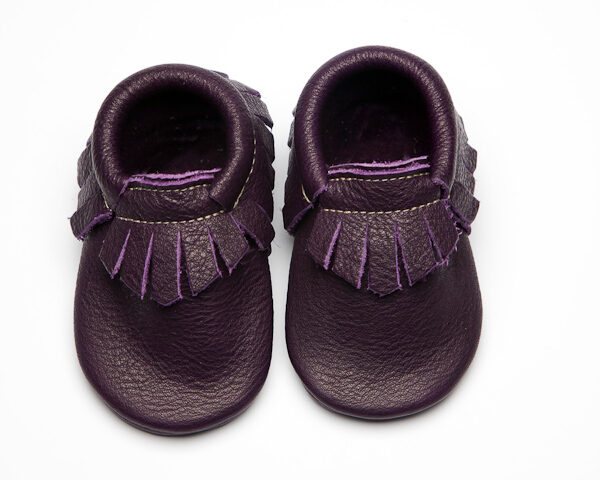 Violet Moccs - Eco-Friendly Soft Leather Moccasins Baby Shoes by Wolfie and Willow