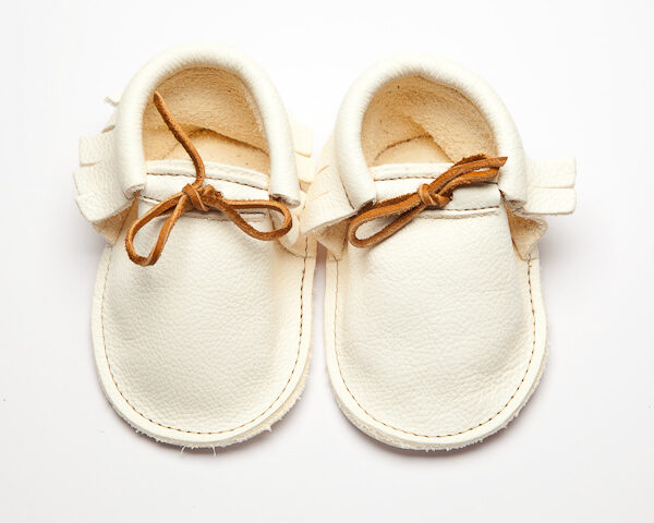 Sahara Pearl Moccs - Eco-Friendly Soft Leather Moccasins Baby Shoes by Wolfie and Willow